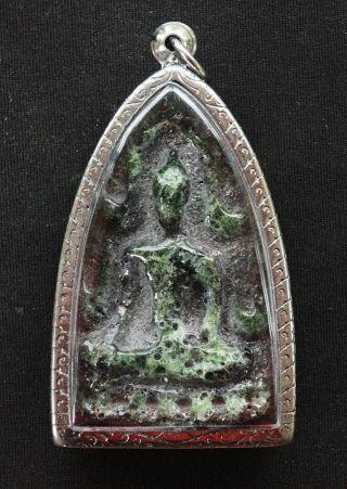Real Thai Amulet Buddha Pendent Mineral Phra Phut Ta Chin Na Rat Wat Na Dul Rare photo