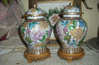 Stunning Pair Of Cloisonne Temple Jars On Wooden Stands photo