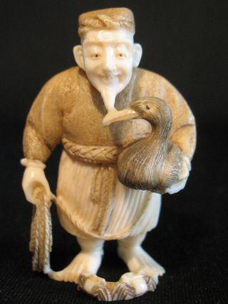Japanese Ox Bone Netsuke Okimono Old Man W.  A Rope & A Duck,  Signed photo