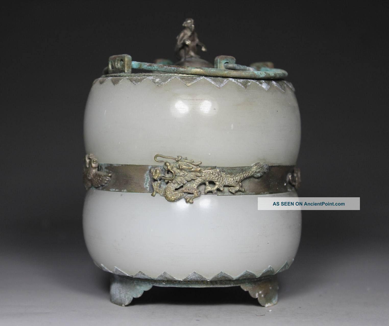 Chinese Handwork Dragon Phoenix Old Jade Incense Burner Uncategorized photo