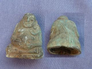 Ancient Happy Buddha Bronze Statue photo