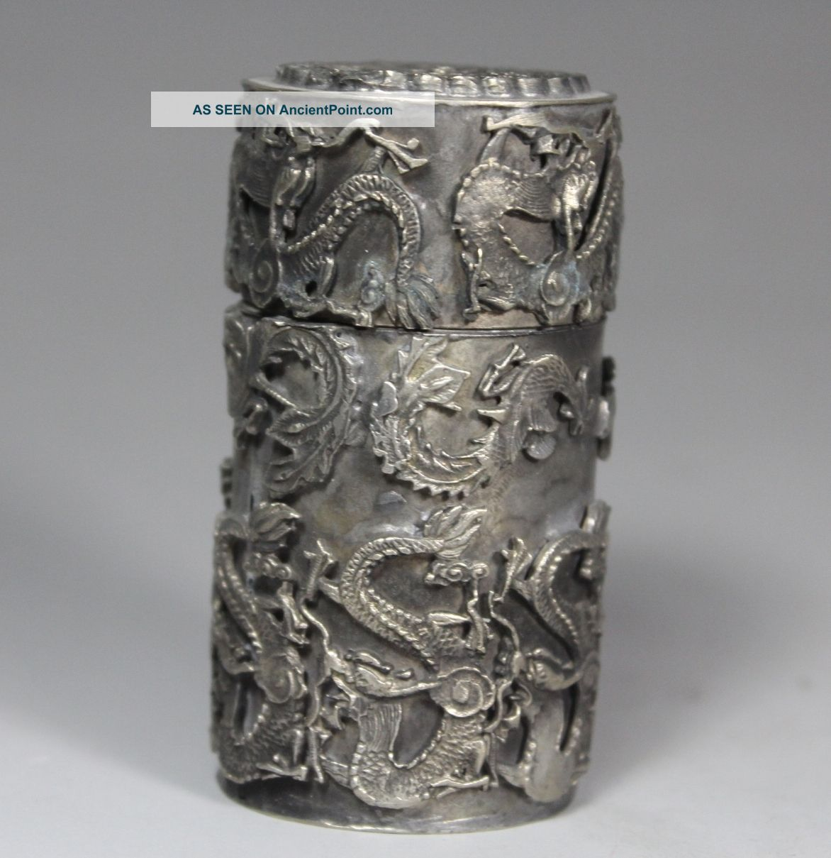 Chinese Handwork Dragon Phoenix Old White Copper Toothpick Box Boxes photo