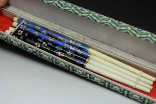 Chinese Old Bone And Cloisonne Pair Handwork Painting Chopsticks photo