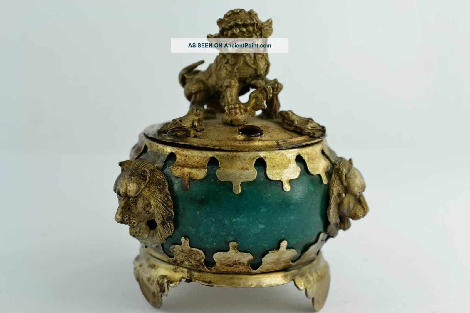 China Rare Collectibles Old Decorated Handwork Jade Kylin Incense Burner Uncategorized photo