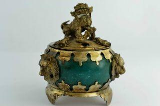 China Rare Collectibles Old Decorated Handwork Jade Kylin Incense Burner photo