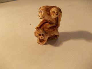 Netsuke Carving Of A Monkey Family photo