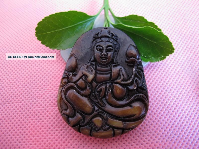 Tibet Folk Classical Jade Stone Carve Auspicious Guanyin Buddha Pendant 519 Reproductions photo