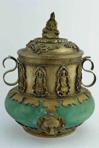 - China Rare Collectibles Old Handwork Jade Kwan - Yin Incense Burner photo