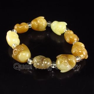 Chinese Hetian Jade Bracelet W Monkey Head Nr photo