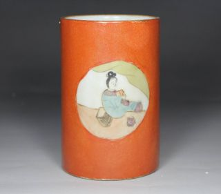 Chinese Old Porcelain Handwork Painting Belle Brush Pot photo