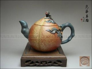 5000friend - Attractive Yixing Zisha Pottery Peach Teapot photo