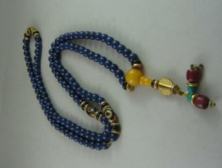 Chinese Tibet Lapis Lazuli Carved Necklace photo