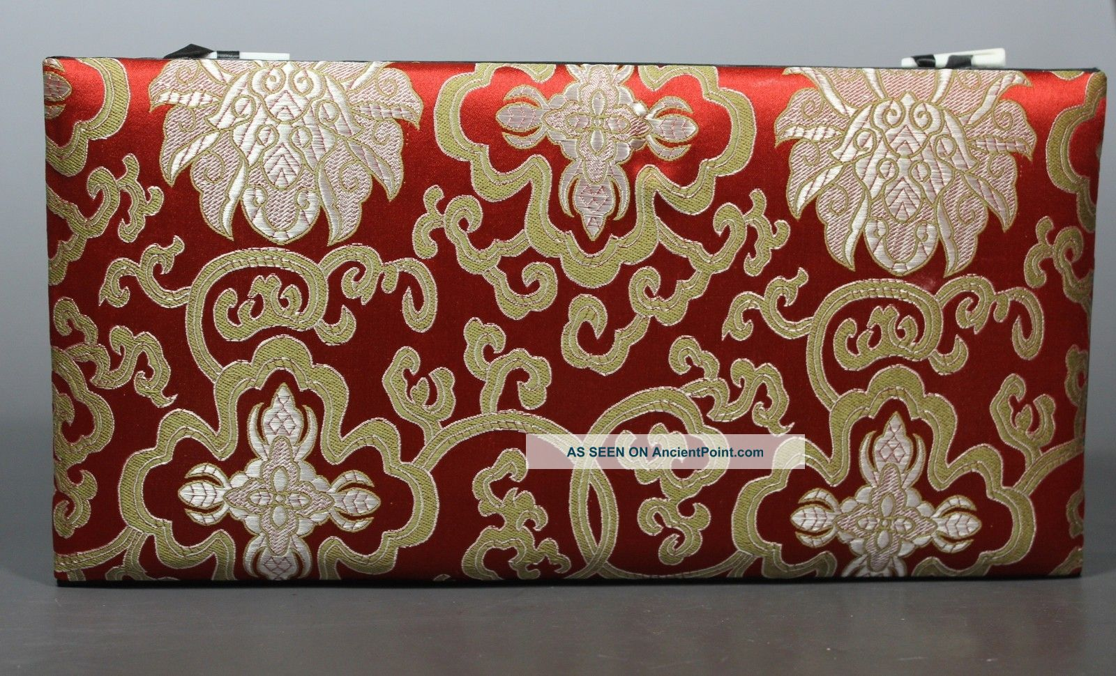 Chinese Old Cloth Handwork Embroidery Flower Jewel Box Boxes photo