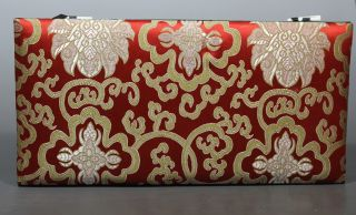 Chinese Old Cloth Handwork Embroidery Flower Jewel Box photo