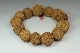 Chinese Old Peach Pit Wonderful Handwork Carved 13 Beads Bracelet photo