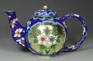 Chinese Old Cloisonne Handwork Painting Flower Tea Pot photo