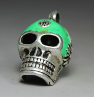 Chinese Old Silver Wonderful Handwork Skull Heads Pendant photo