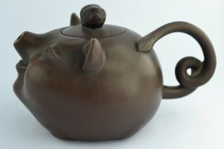 ❤ Orient Old Collectibles Handwork Delicate Zisha Pig Tea Pot ❤ photo