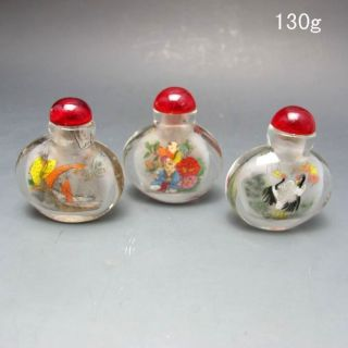 3pcs Chinese Inside Hand Painted Glass Snuff Bottle Nr/nc2113 photo