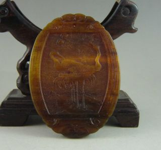 Excellent Chinese 100% Ox Horn Hand Carved Crane And Man Pendant photo