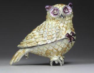 Chinese Handwork Owl Old Metal Jewel Box photo