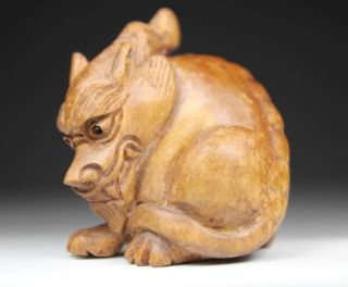 Oriental Old Boxwood Handwork Carving Dragon Netsuke photo