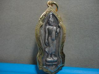 Phra Leela Holy Buddha Wealth Rich Lucky Charm Thai Amulet photo