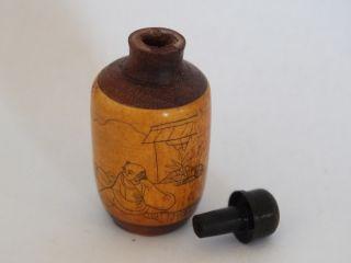 Vintage Oriental Fruitwood Snuff Bottle photo