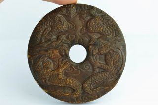 Asian Old Collectibles Decorated Wonderful Handwork Jade Carving Dragon Pendant photo