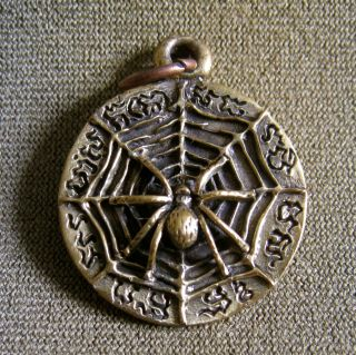 Wealth Spider Rich Luck Good Business Charm Thai Amulet Pendant photo