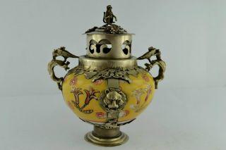 China Collectibles Old Decorated Handwork Porcelain Leo Incense Burner + photo
