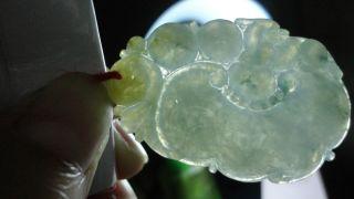 100%natural Ice Green Grade A Jade Jadeite Pendant/yellow Skin/flower Pendant/ photo