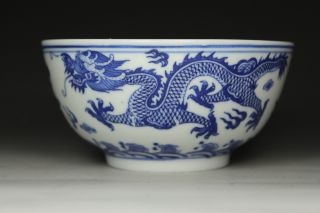 Chinese Handwork Painting Dragon Old Porcelain Bowl photo
