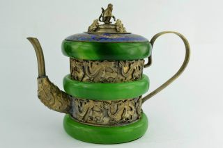- China Collectibles Old Handwork Jade Cloisonne Dragon Tea Pot + photo