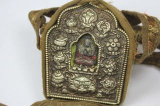 Nepal Tibet Old Copper/ Cloth Wonderful Handwork Buddha Box Pendant photo