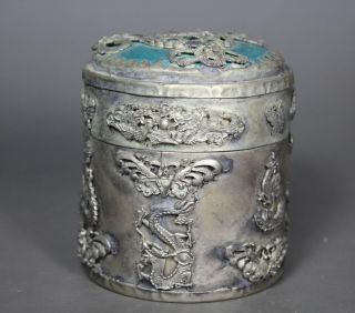 Chinese Old Jade Handwork Dragon Phoenix Tobacco Box photo