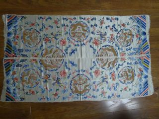 19th Century Uncut Chinese Imperial Embroidered Silk Dragon Summer Robe photo