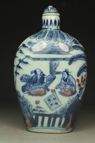 Chinese Handwork Painting Hero Old Porcelain Snuff Bottle photo