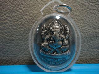 Lord Ganesha Ganesh & Brahma Creator Love Lucky Wealth Hindu Charm Thai Amulet photo