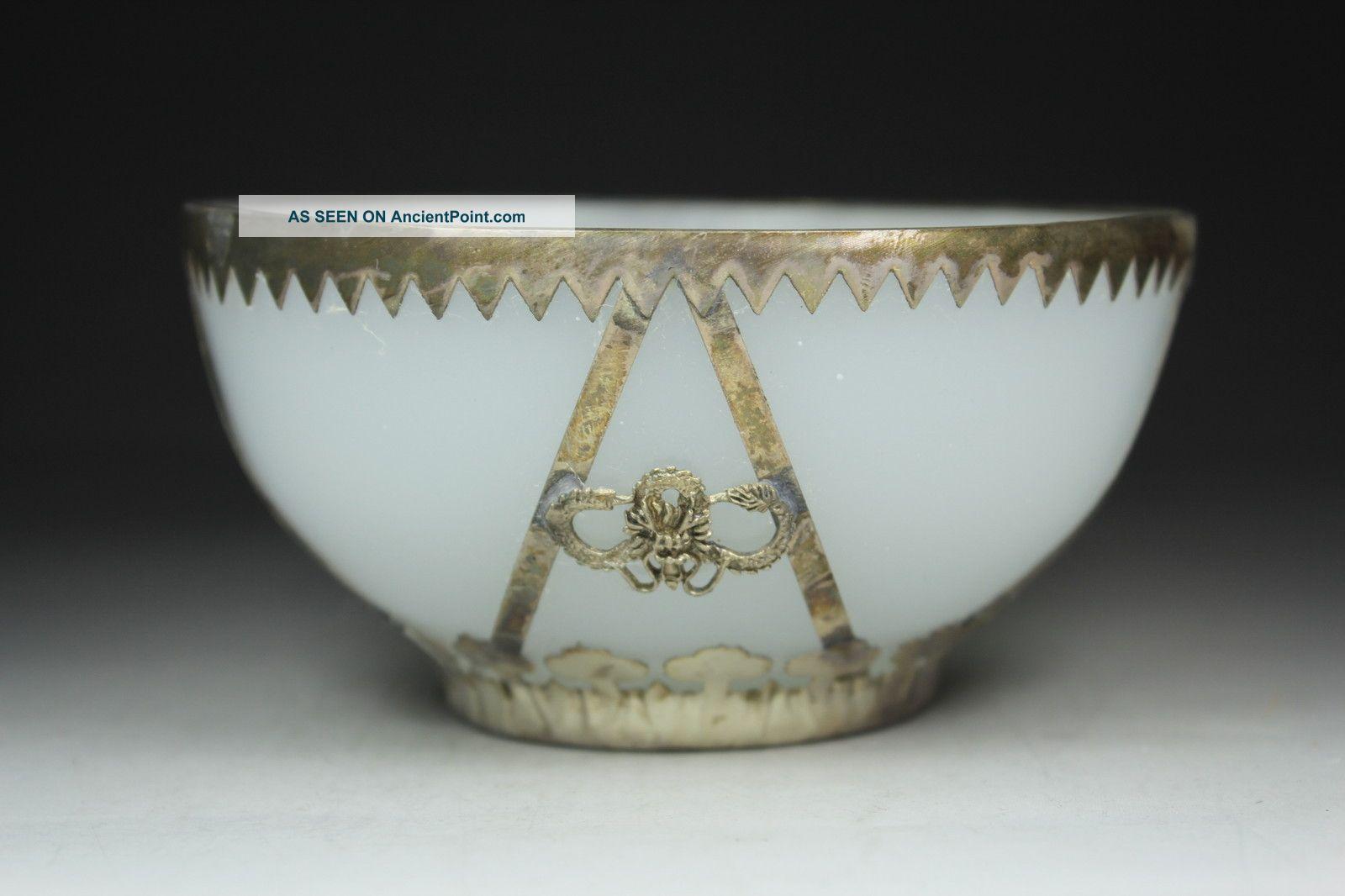 Chinese Old Beijing Coloured Glaze Wonderful Handwork Armored Dragon Bowl Uncategorized photo
