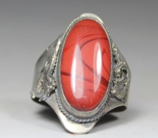 Chinese Old Pattern Jade/ Silver - Plated Handwork Armored Dragon/ Phoenix Ring photo
