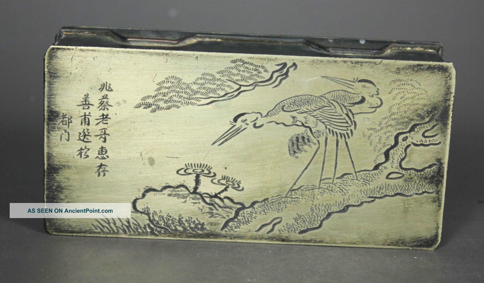Chinese Old Copper Handwork Crane Jewel Box Boxes photo