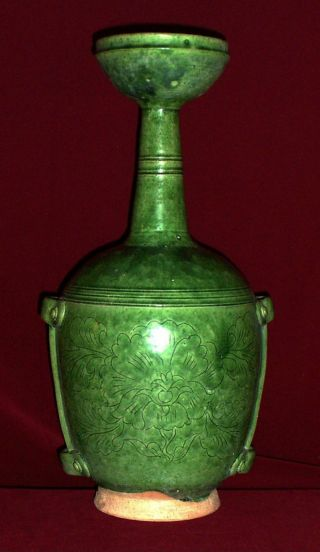 Museum Quality Green Glazed Flask Vase,  Liao Dynasry (11th Century) photo