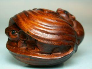 Mice & Shell - Carved Wood Netsuke Uk492 photo