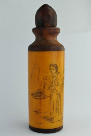"""❤ Orient Old Collectibles Handwork Delicate Painting Belle & """" 福""""snuff Bottle ❤ photo"""