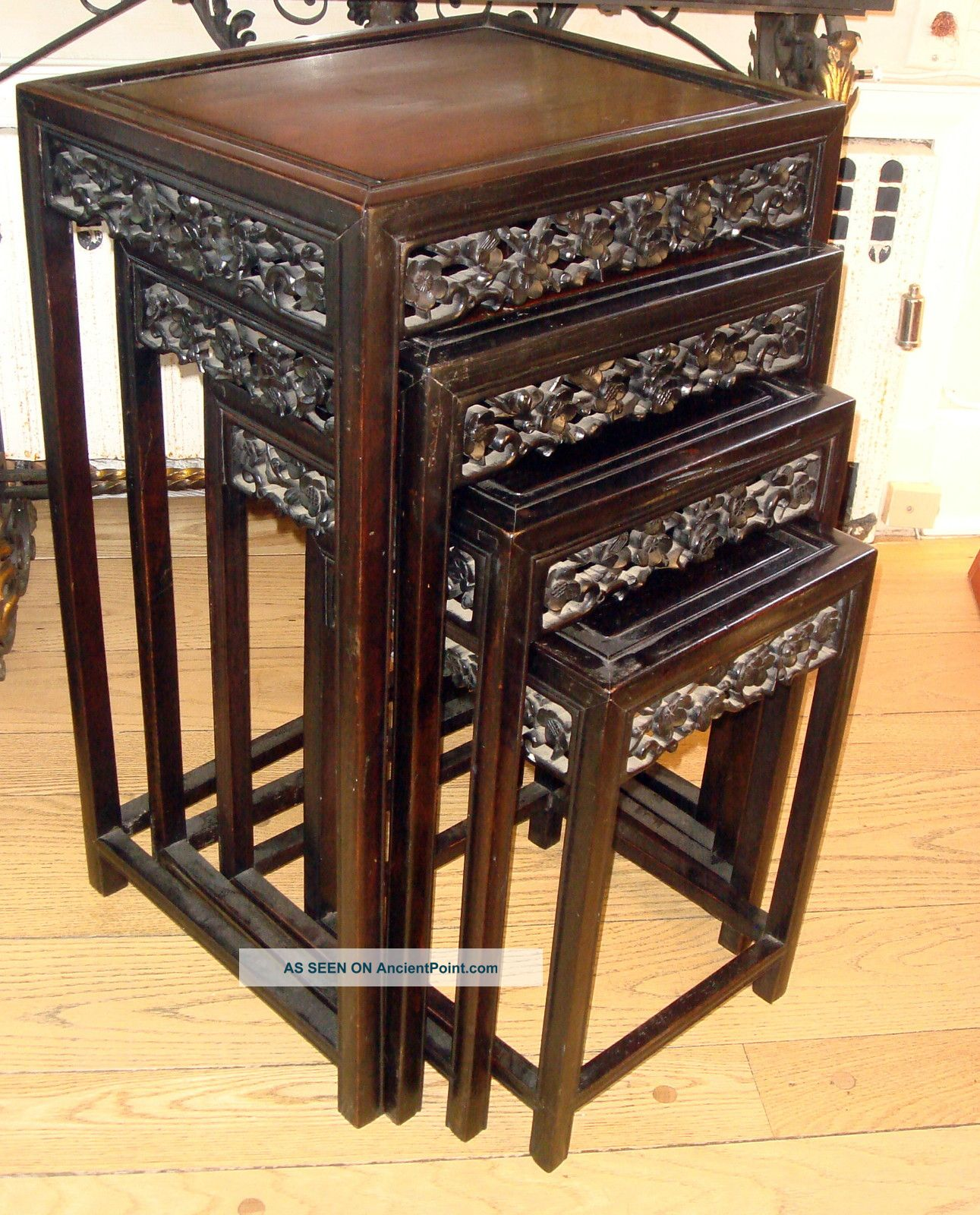 Antique Asian Chinese Stunning Nest Of Rosewood Wood Stacking Tables