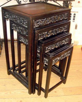 Antique Asian Chinese Stunning Nest Of Rosewood Wood Stacking Tables photo
