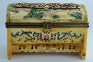 China Rare Collectibles Old Decorated Wonderful Handwork Carving Owl Jewel Box photo