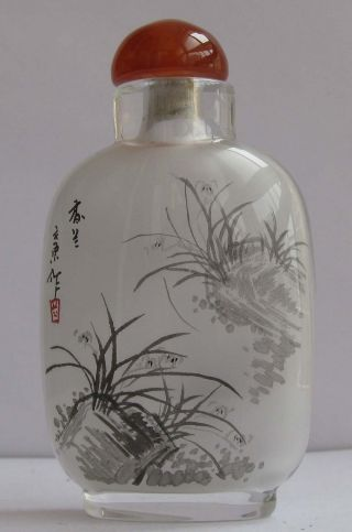 229peking Glass Inside Painting Birds Charming Orchids Snuff Bottle&gift Box photo
