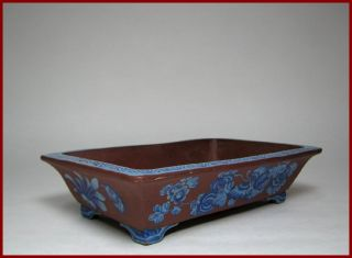 Good Early 20c Chinese Enameled Yixing Narcissus Bowl / Planter,  Perfect,  N/r photo